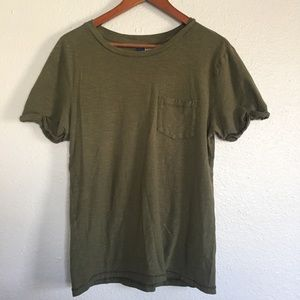 DIVIDED Olive Green Rolled Sleeve Casual Top